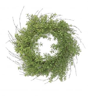 24in Boxwood and twig wreath