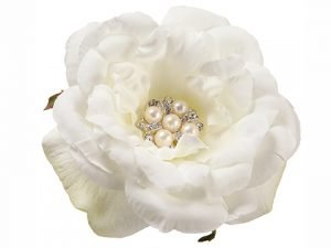 "4.3"" Pearl Rose Napkin Ring  White"
