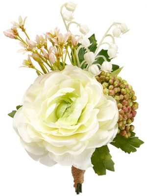 """7"""" Ranunculus/Lily of TheValley CorsageCream Green"""