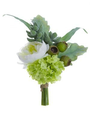 """9"""" Ranunculus/SnowballCorsageWhite Green"""