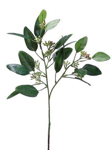 """18"""" Seeded Eucalyptus SprayGreen Burgundy"""