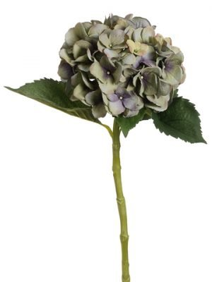 "19"" Large Single Hydrangea Spray with Water-Resistant Stem Green Purple"