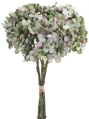 "12"" Hydrangea Bundle x3 Two Tone Green"