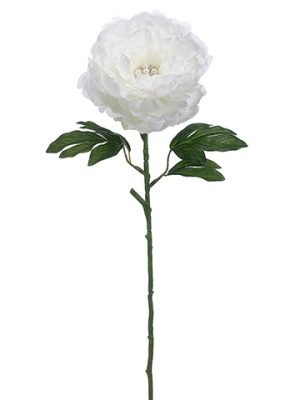 "25"" Peony with Rhinestone Spray White"