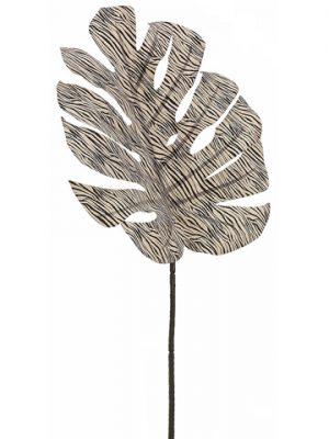 "30"" Zebra Print SplitPhilodendron Leaf SprayCream Black"