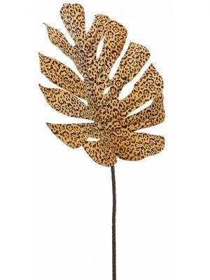 "30"" Leopard Print SplitPhilodendron Leaf SprayYellow Brown"