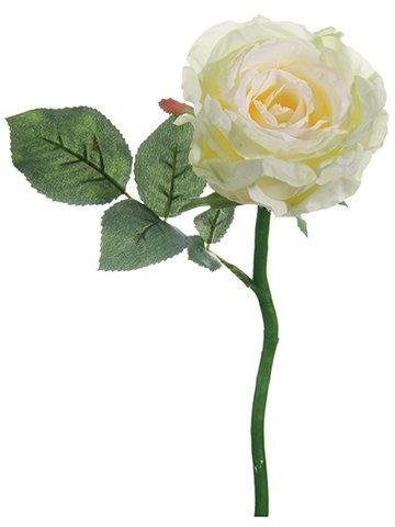 "12.5"" Open Rose Spray White Cream"