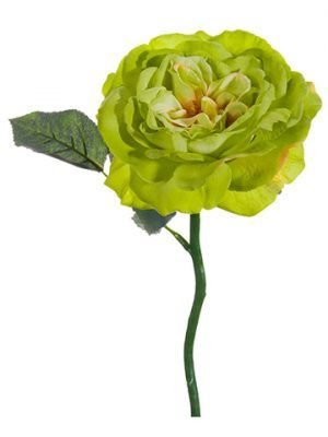 "12"" Large Open Rose Spray Green"