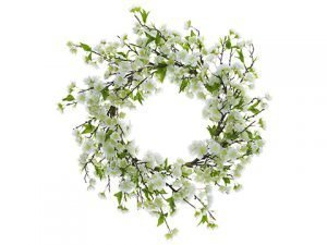 "22"" Cherry Blossom Wreath White"
