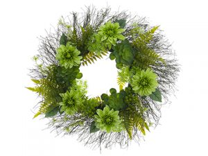 "24"" Dahlia/Succulent/Fern Wreath Two Tone Green"