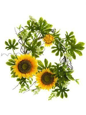 "28"" Sunflower/Fig Leaf Wreath Yellow Green"
