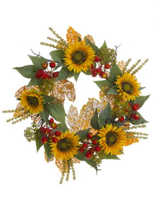 "24"" Sunflower/Pomegranate/ Maple Leaf Wreath Yellow Gold"