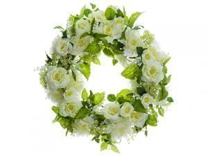 "26"" Peony/Rose/Lily of The Valley Wreath Cream Green"