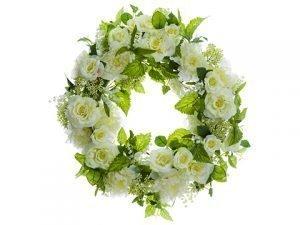 "26"" Peony/Rose/Lily of TheValley WreathCream Green"