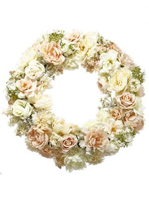 "30"" Peony/Rose/Snowball Wreath Cream Blush"