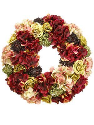 "19.5"" Hydrangea/Rose/SedumWreathBurgundy Green"