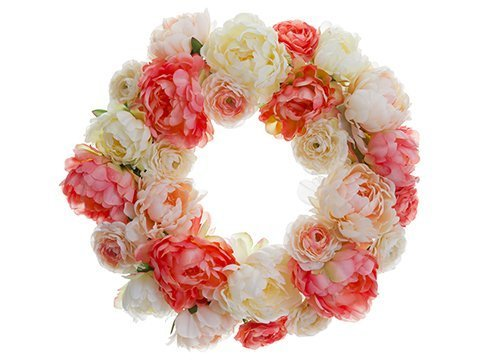 "21"" Peony/Ranunculus TwigWreathCoral Blush"