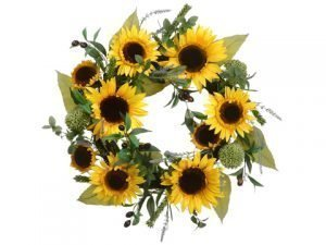 "22"" Sunflower/Lavender/Olive Wreath Yellow Green"