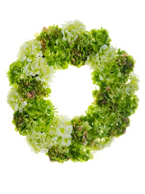 "24"" Hydrangea/Snowball Wreath Green Cream"