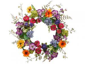 """24"""" Daisy/Ranunculus/MorningGlory WreathMixed"""