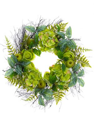 "24"" Hydrangea/Rose/Apple Wreath Green"