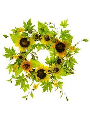 "24"" Sunflower/Blossom Wreath Yellow"