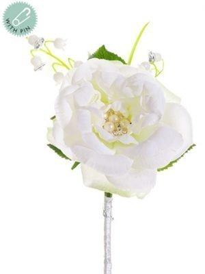 "7"" Rose w/Rhinestone/Lily ofThe Valley CorsageWhite"