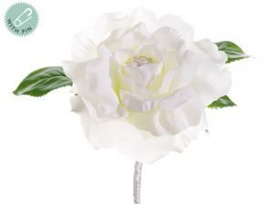 "8.5"" Rose w/RhinestoneBoutonniereWhite"