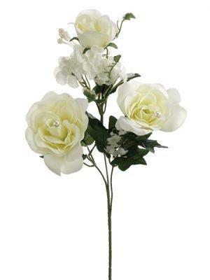 "25.5"" Rose/Hydrangea Spray x3Cream"