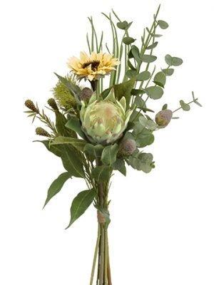 "31"" Sunflower/Protea/Eucalyptus Drop in BundleYellow Green"