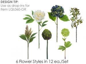 """13""""-16"""" Flower SprayAssortment (12 ea/set)White Blue"""