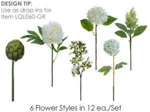 """13""""-16"""" Flower SprayAssortment (12 ea/set)White Green"""