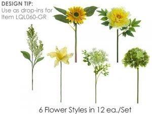 "13""-16"" Flower SprayAssortment (12 ea/set)Yellow Green"