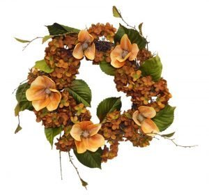 Fall magnolia and hydrangea wreath