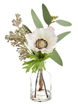 "9.4"" Anemone/Eucalyptus in Glass Vase Soft Pink"