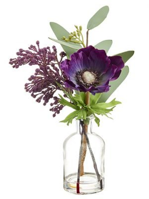 "9.4"" Anemone/Eucalyptus in Glass Vase Purple"