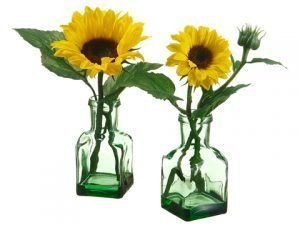 "10.5""-11"" Sunflower in Glass Vase (2 ea/Assortment) Yellow"