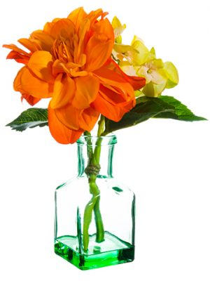 "9.5"" Dahlia/Hydrangea in Glass Vase Orange Green"
