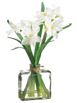 "12"" Narcissus in Glass Vase White"