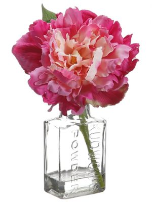"8"" Peony in Glass Vase Fuchsia Pink"