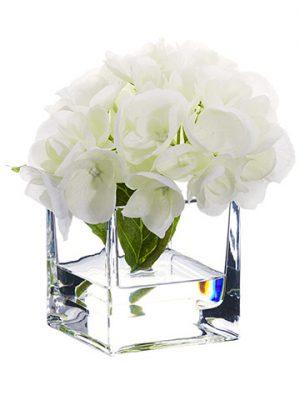 """5.5"""" Hydrangea in Glass Vase White"""