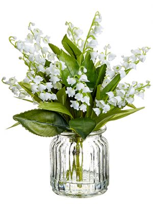"""9"""" Lily of The Valley inGlass VaseWhite"""