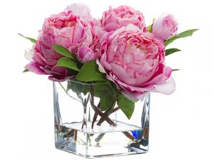 """9"""" Peony in Glass Vase Pink"""