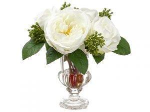 """9.5"""" Rose/Sedum in Glass Vase White"""