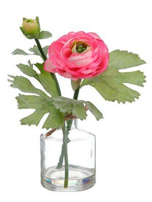 """8.5"""" Ranunculus in Glass Vase Cerise"""