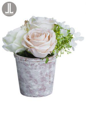 "8"" Rose/Ranunculus/Snowballin Clay PotCream Blush"