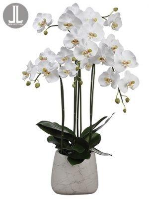"35"" Phalaenopsis Orchid Plantin Marble Look PotWhite"
