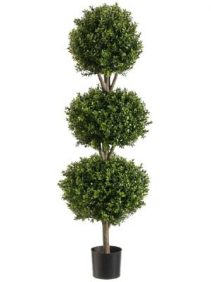 4' Triple Ball-Shaped Boxwood Topiary in Plastic Pot Two Tone Green
