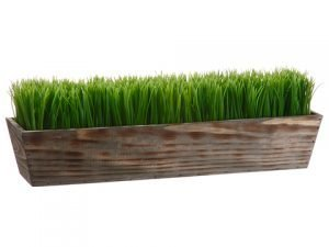 "8""H x 6""W x 24""L Grass in Wood Planter Green"