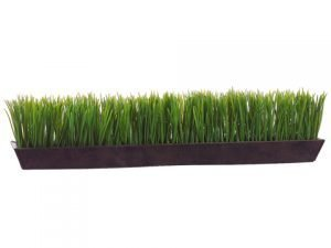 "6""H x 26""W Grass in Rectangular Tin Planter Green"